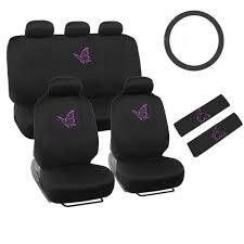 new purple flying erfly front back car seat cover steering wheel cover set