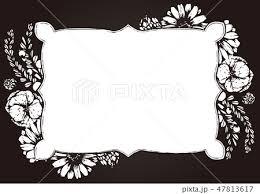 花と植物の枠 背景素材 フレーム 白黒のイラスト素材 47813617 Pixta
