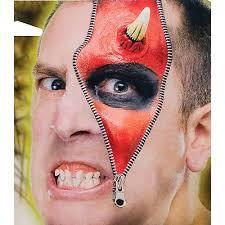 horror zipper face demon devil deluxe makeup fx kit costume accessory