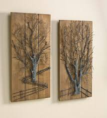 Metal Tree on Wooden Wall Art, Set of 2 | Rustic set of wooden panels