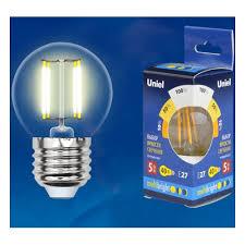 Светодиодная <b>лампа Uniel LED</b>-<b>G45</b>-<b>5W</b>/<b>WW</b>/E27/<b>CL</b>/<b>MB</b> ...