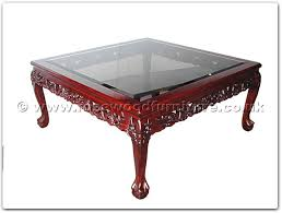 rosewood furniture range ff5h4cof bevel glass coffee table dragon design tiger legs