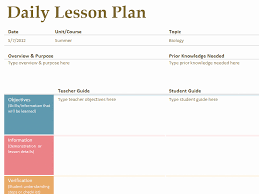 Daily Lesson Plan Template Fresh Printable Lesson Plan