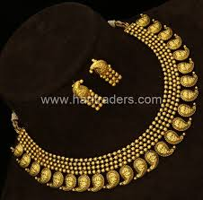 antique gold plated mango real jewellery design broad necklace traditional collections
