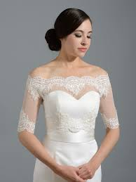 Off Shoulder Dot Lace Bolero Wedding Jacket