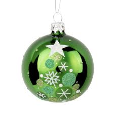 Weihnachtskugel Aus Grünem Glas Bedruckt Mit Weißen Sternen