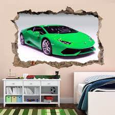 Supercar Green Sports Car Wall Sticker ...