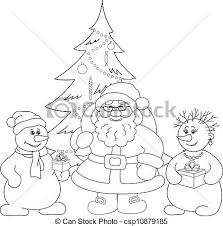 christmas drawing outline. Contemporary Christmas Santa Claus Christmas Tree And Snowmans Outline  Csp10879185 Intended Drawing Outline M