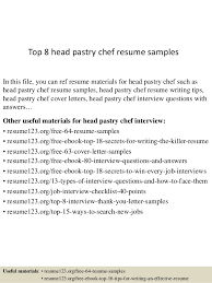 Assistant Chef Resumes Top 8 Head Pastry Chef Resume Samples