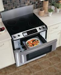 pull out drawer microwave. Pull Out Microwave Drawer In Under Electric Stove Brown Ceramic Tiles Floors Pure White Kitchen Counter On