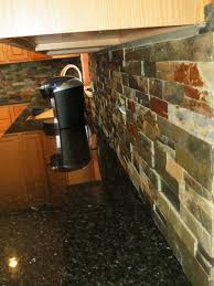 ont subway finished slate backsplash tiled installation with black granite countertops added square single undermount sink as decorate in mid century