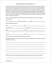 Student Incident Report Form Sample Forms