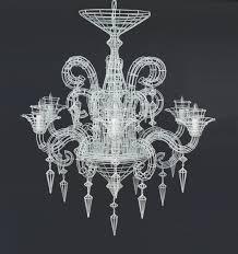 gloria wire chandelier white