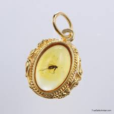 jewelry with insects gold plated baltic amber pendant with insect inclusion