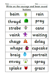 Phonics worksheets and online activities. Year 1 Phonics Screening Check Practice Phonics Alien Words Learning Phonics