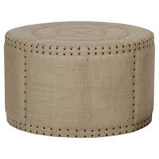 adalene french country burlap rustic round coffee table ottoman