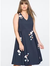 dr james for eloquii fl embellished fit and flare dress
