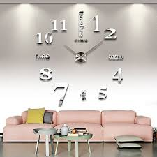 wall clock in living room. cozroom large silver 3d frameless wall clock stickers diy decoration for living room bedroom in c