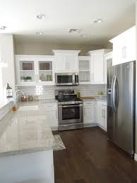 kitchens with white cabinets and dark floors. Kitchen Progress Wood Tile Floors White Cabinets And With Next House  Backsplash Gray Granite Love This Kitchens With White Cabinets And Dark Floors O
