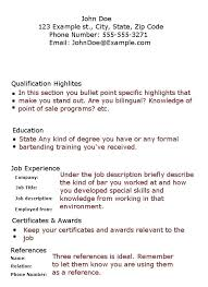 Bartending Resume Templates Magnificent Resume Bartender Bartender Resumes Templates Technical Resume