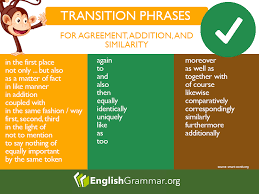 Transition Phrases For Agreement Addition Similarity How