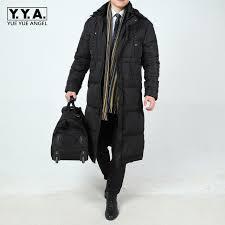 winter business men long down jacket loose thicken warm parkas hooded windbreaker mens overcoats casual large