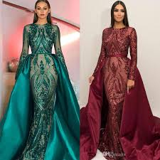 B Darlin Dress Size Chart Luxury Dubai Long Sleeves Green Sequins Prom Dresses 2019 Mermaid Detachable Train Evening Party Gowns Custom Made Plus Size Sexy Prom Gown B Darlin