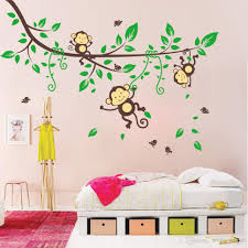 Wall Decor Sticker Playing Monkey Tree Wall Stickers Cute Cartoon Wall Decals Kids