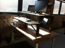 desk interesting standing desks ikea wood construction black finish simple design two monitor top large keyboard