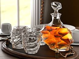 5 piece diamond cut whiskey decanter set 4 glasses and scotch decanter with stopper
