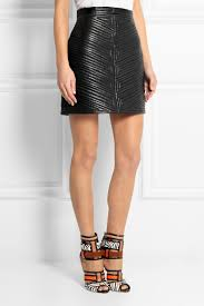 Balmain Quilted Leather Mini Skirt in Black | Lyst & Gallery Adamdwight.com