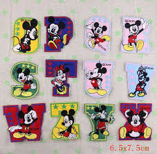 iron on Letters 26 alphabet Minnie mickey mouse embroidery Patches iron on patches sew on patch