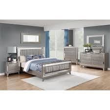 Coaster Leighton 5 Piece Queen Mirrored Panel Bedroom Set In Mercury