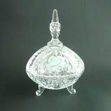 glass candy dish with lid vintage covered glass dish tall compote lidded candy bowl cut glass