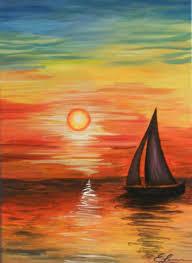 colorful sunset sailboat on the sea acrylic canvas painting by divonsir borges