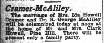 Ida Howell Cramer and Dr Robert George McAliley - Wedding - Newspapers.com