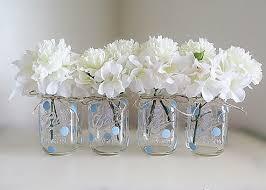 Decorating Mason Jars For Baby Shower Blue Polka Dot Mason Jar Centerpieces Baby Shower Mason Jars 2