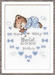 Boy Birth Sampler Cross Stitch Kit By Riolis
