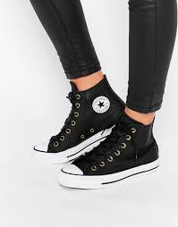 black leather converse hi tops