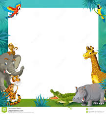 Cartoon Safari Jungle Frame Border Template Illustration For