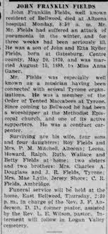 John Franklin Fields obit 1 Jul 1930 son of John and Etta Ryder b 20 May  1870 - Newspapers.com