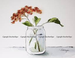 wildflowers in glass jar watercolor painting botanical flowers