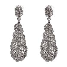 crystal statement feather bridal earrings