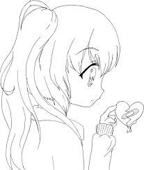Small Picture Anime Girl Coloring Page Intended To Invigorate In Coloring Images