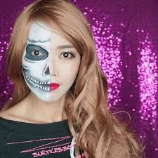 half skull makeup for this year i made this tutorial and will be up on my you channel ing soon hmm do you remember last year i did