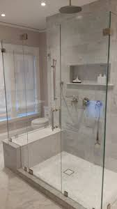 frameless shower door with 1 2 starphire tempered glass and polished nickel clips