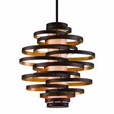 corbett lighting 113 43 bronze with gold leaf vertigo 3 light 23 wide chandelier with fabric shade lightingdirect com