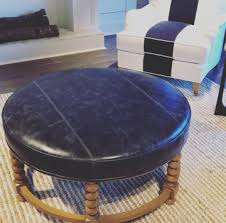 lexington coastal blue leather ottoman