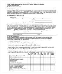 Letter of Re mendation Form for Graduate School Admission PDF