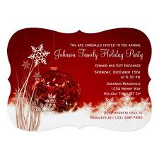 Red Christmas Ornament Holiday Party Invitations Zazzle Com